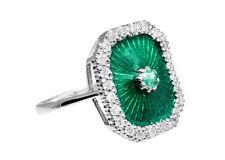 Exklusiver Ring, Email, Diamanten, Smaragd RG 54