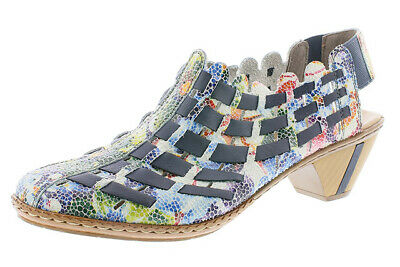 Rieker 46778 Chaussures Femme Ocean multicolore en cuir tissé Talon Bloc Bride Arrière Sandales | eBay