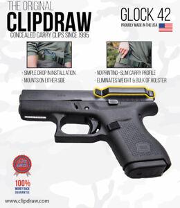 Clipdraw-Belt-Clip-for-Glock-42-380-IWB-OWB-Black-Ambidextrous-G42B-Clip-Holster