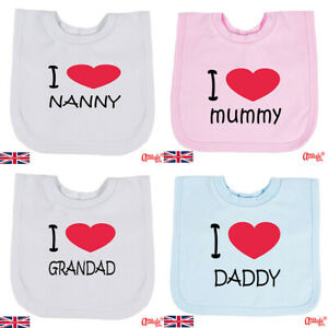 Funny Baby Bibs-Printed-One Size-I Love Mummy-Daddy-Nanny-Grandad-Baby Love Bibs