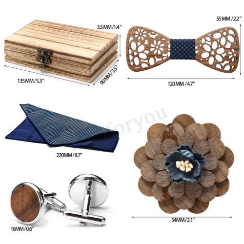 4Pcs//set Wooden Bow Tie Cufflink Novelty Wedding Handmade Neckwear Gifts Box