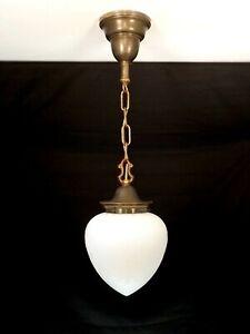 Vintage art deco nouveau pendentif Luminaire gravé verre blanc globe bronze
