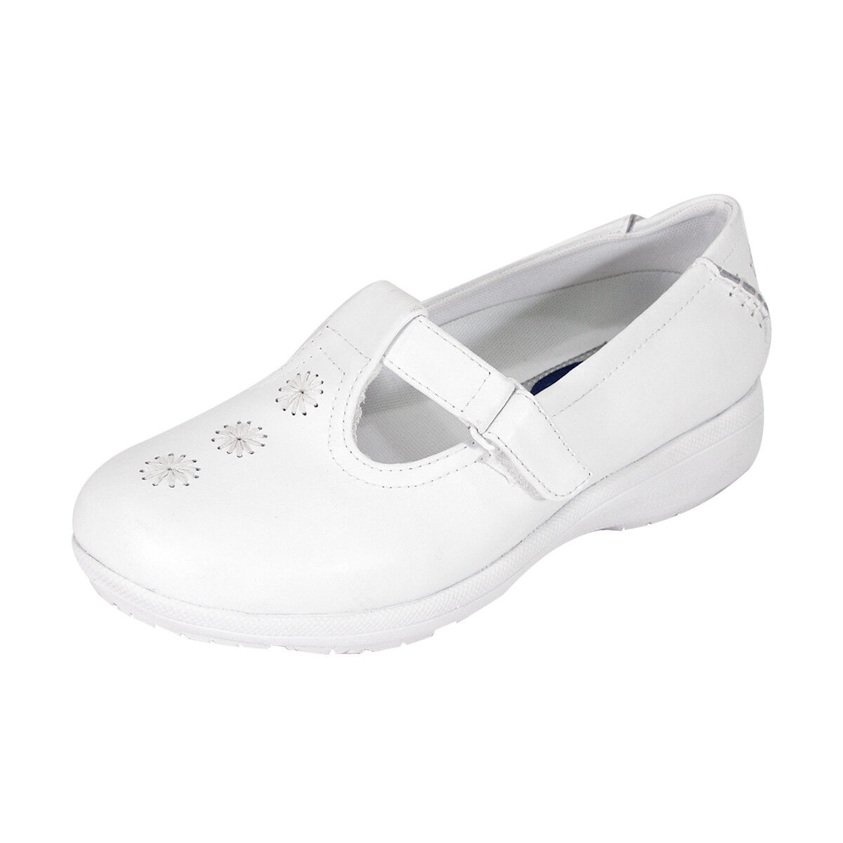 24 HOUR COMFORT Lily Damens Wide Width T-Strap Design with Stitched Spirals Schuhes