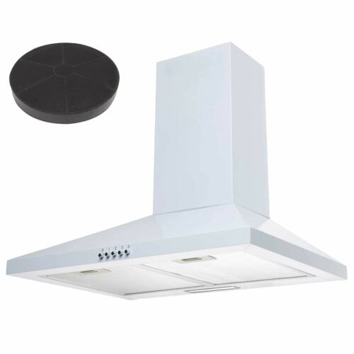 SIA CHL60WH 60cm White Chimney Cooker Hood Kitchen Extractor And Carbon Filter
