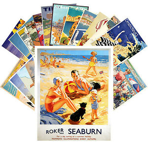 Postcards-Pack-24-cards-Sunny-Beach-Holidays-Vintage-Travel-Posters-CC1050