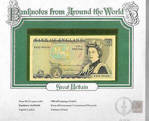 World Banknotes Great Britain 5 pounds 1980-87 P 378c UNC Somerset KS52