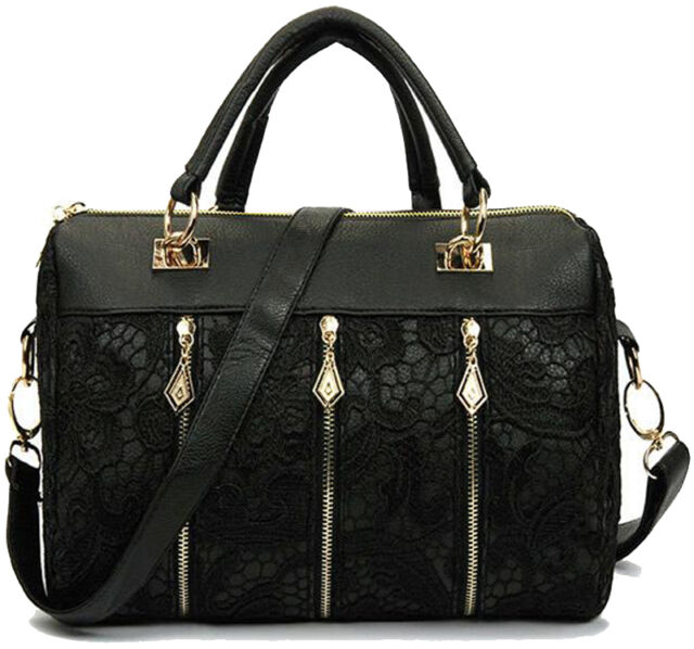 Vintage Retro Damentasche PU Leder Tasche Handtasche Schultertasche Spitze T11