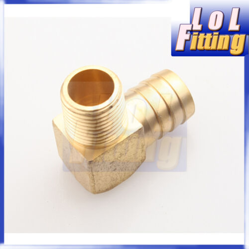 "1/""  Male 90 Elbow Brass Hose Barbs Barb to 1//2/"" NPT Pipe Male Thread"