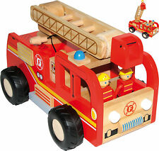 Feuerwehrlaster Feuerwehrauto aus Holz mit 2 Figuren Feuerwehrwagen Feuerwehr