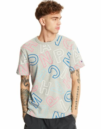 Mens Champion Life Tee T-Shirt Short Sleeve Heritage All Over Block Logo Cotton