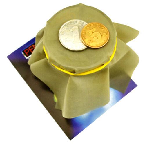 Coin Penetration Dish Coin Thru Rubber Sheet Into Cup Black Hole Magic Trick AB