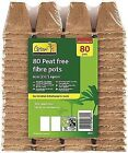 80x Plant Pots 100 Biodegradable Eco Fibre Natural Square 6cm Garden No Plastic