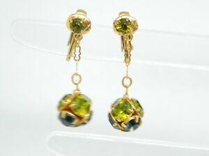 Green-Blue-Rhinestone-Gold-Tone-Dangle-Ball-Vintage-Clip-Earrings