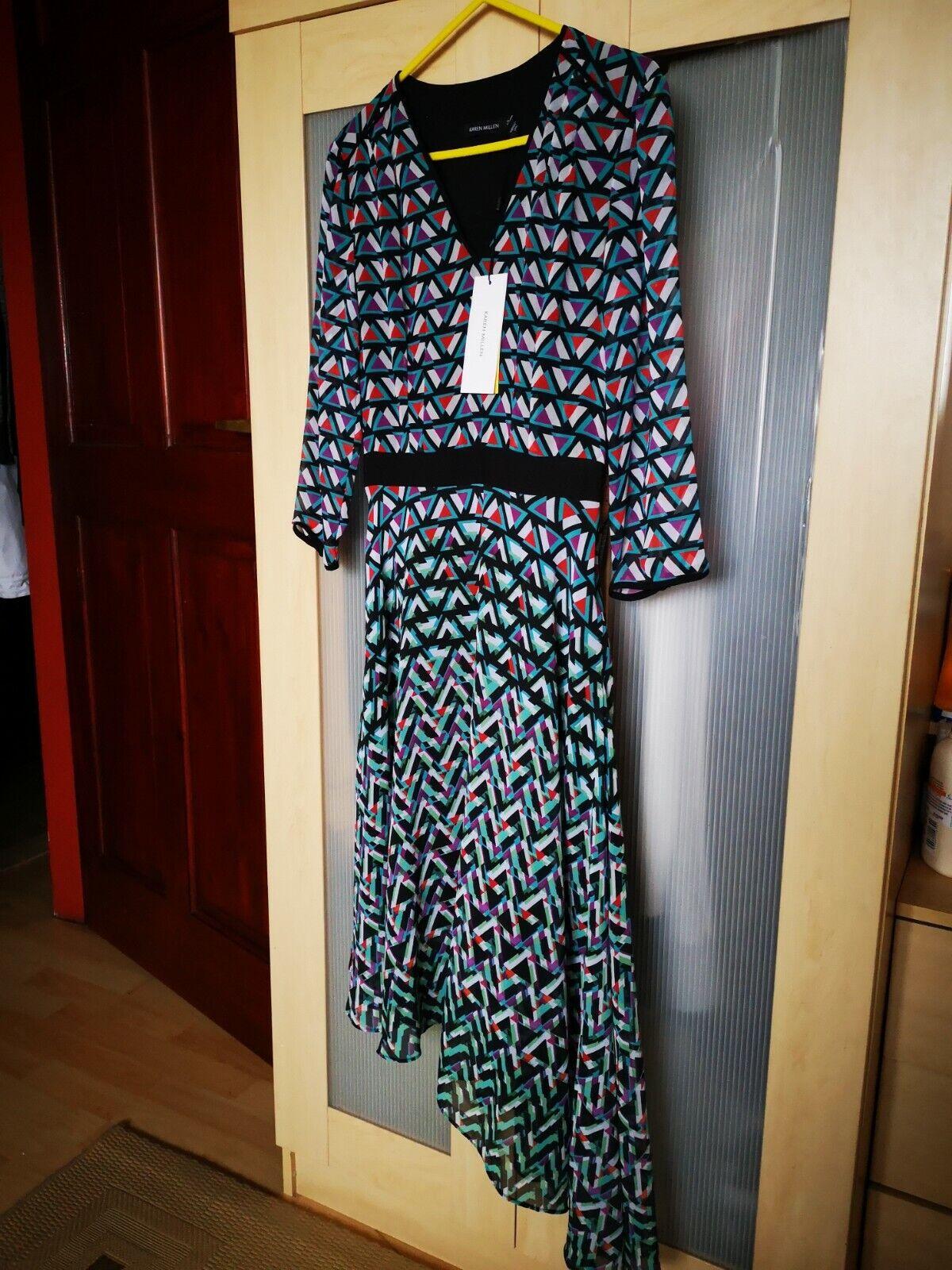 Karen Millen pyramid Geo flare collection dress UK 6 BNWT