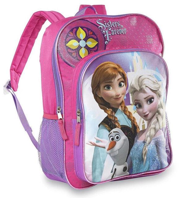 "16/"" Disney Frozen Elsa Anna All Print Girls Large School Backpack A10027"