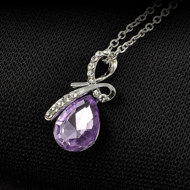 Hot Sale Crystal Rhinestone Tear Of Angel Clavicle Chain Pendant Necklace Gift