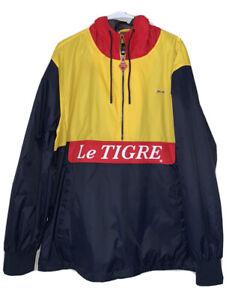 Le-Tigre-Herren-XL-Colorblock-Lightweight-Hooded-Windbreaker-Jacke-blau-gelb