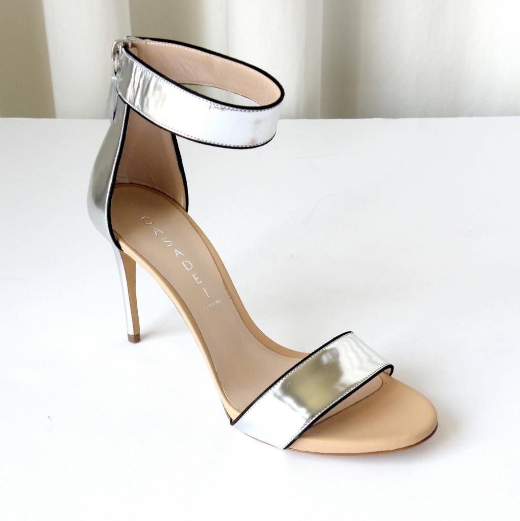 scegli il tuo preferito Casadei Donna in pelle argentoo Cinghia Cinghia Cinghia Alla Caviglia Tacco Alto Sandali  confortevole