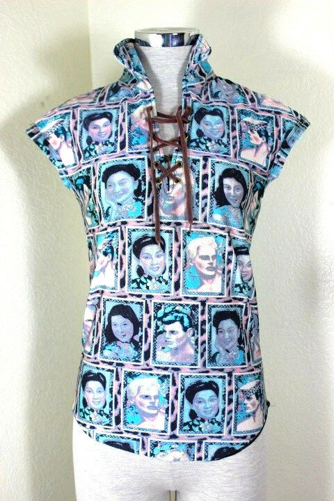 Vintage Gaultier Jean's Asian Faces Blau Printed Top Shirt Blouse Small 2 3 4