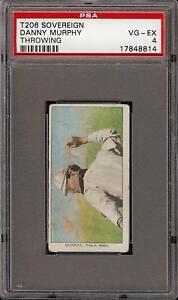 Rare 1909-11 T206 Danny Murphy Throwing Sovereign 350 Phila PSA 4 VG - EX
