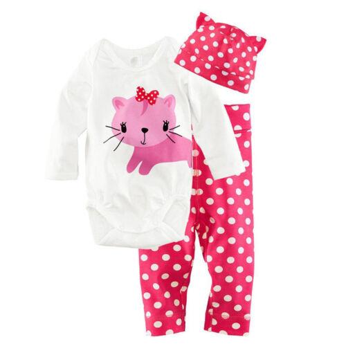 3pcs Newborn Baby Boys Girl Clothes Romper Pants Hat Outfits Set Infant Babygrow