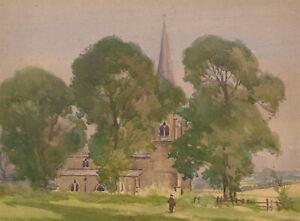 Herbert-Goodliffe-1900-1958-Mid-20th-Century-Watercolour-Church-Scene