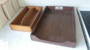 2-X-VINTAGE-WOODEN-TRAYS-DRAWER-CUTLERY-amp-OFFICE-PAPER-MOTOR-UNDERWRITING