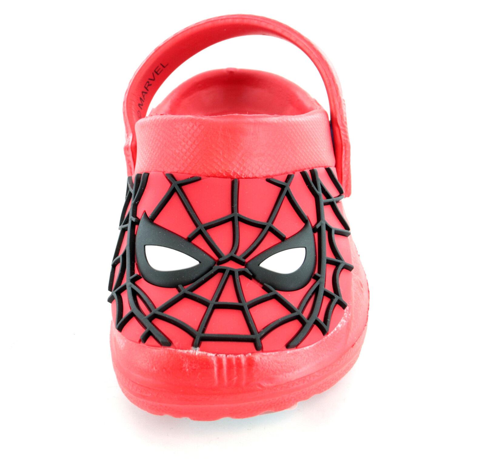 Boys Marvel Spiderman Clog Flip Flop Sandals Cloggs Toddler Children Size 6-12