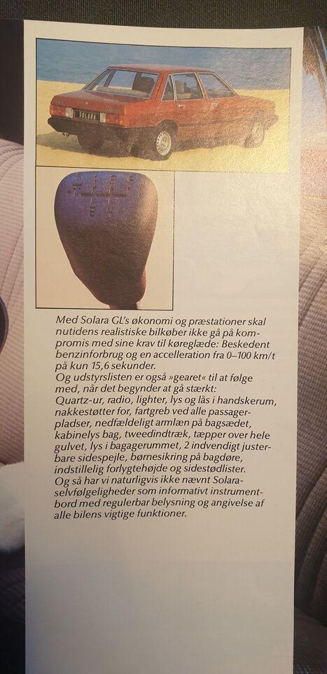 Brochure, Talbot Solara