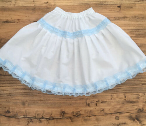 Length Made to Measure Choose Waist White//Blue Lace Petticoat Skirt Adult