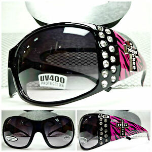 3fc5c9f5ded Image is loading STYLISH-WESTERN-COWGIRL-Black-SUNGLASSES-SHADES-Hot-Pink-