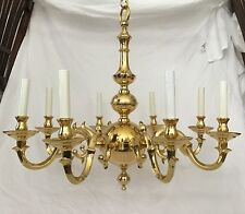 Statley Vintage Solid Cast Brass 8 Arm Colonial Williamsburg Style Chandelier