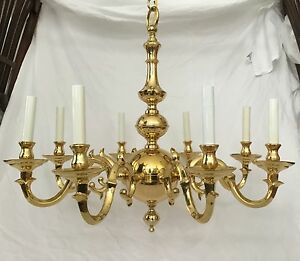 Statley vintage solid cast brass 8 arm colonial for Williamsburg style lighting
