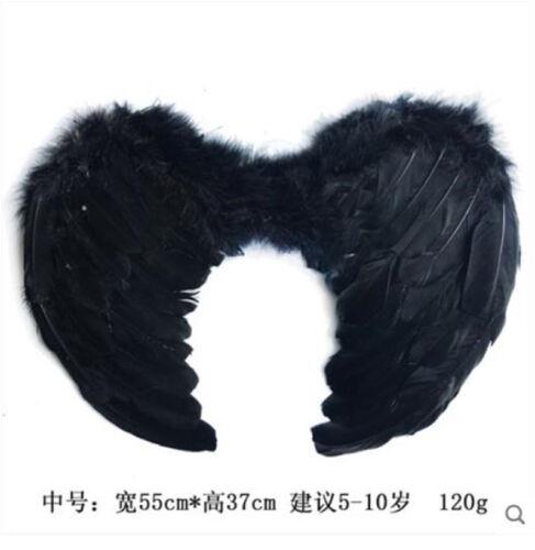 Kid Black White Feather Fairy Angel  Magic Wings Devil Wings Prop Halloween