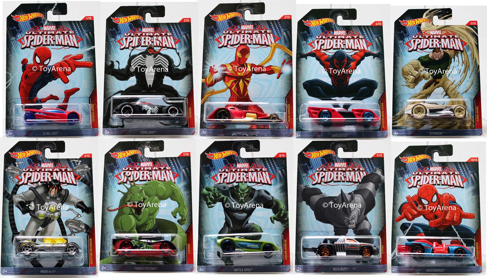 2015 Hot Wheels Marvel Ultimate Spider-man Full Coche Set De 10 1 64 Raro fundido a troquel