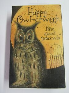 New-Halloween-Owl-Happy-Owl-O-Ween-From-Count-Dracowla-MWT-Canvas-Framed-Picture