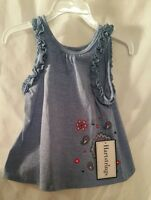 Girls Denim Blue Tank Top 2 T Childrens Kids Clothes Flared Red Smock
