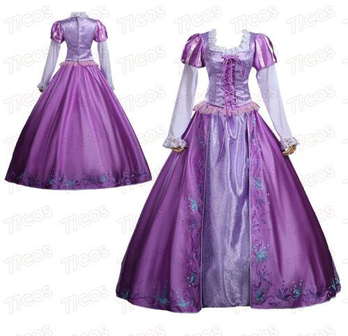 Rapunzel Embroidered Purple Satin Adult Cosplay Dress Halloween Costume
