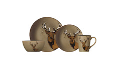 item 3 Stoneware Dinnerware Set Deer Dishes Nature Wildlife Cabin Country Brown 16 PC -Stoneware Dinnerware Set Deer Dishes Nature Wildlife Cabin Country ...  sc 1 st  eBay & Square Dinnerware Set 16pc Wildlife Cabin Lodge Plates Rustic Dishes ...
