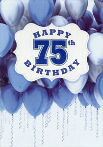 White-Banner-Over-Blue-and-White-Balloons-Age-75-75th-Birthday-Card-for-Him