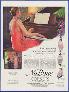 Vintage 1925 NU BONE Corsets Women's Lingerie Fashion Ephemera 20's Print Ad
