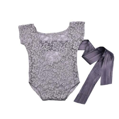 Newborn Baby Girl Lace Romper Jumper Photography Props Bow Back Jumpsuit JS