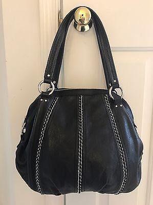 B. MAKOWSKY Black Glove Leather Chain Detail  Handbag Tote W/ Dust Bag