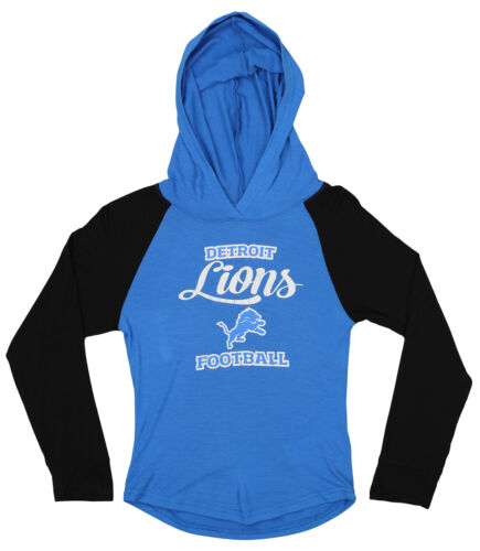 OuterStuff NFL Youth Girls Long Sleeve Hooded Shirt Detroit Lions
