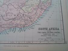 Mapa Antiguo África 1890-s + Capa Colonia-de PHILIPS Atlas Para Principiantes § 24