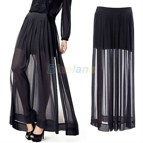 WOMENS SEXY UNIQUE DRESS SHEER SIDE SPLIT PLEATED CHIFFON MAXI LONG SKIRT BLACK