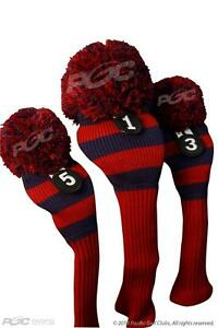 NEW-1-3-5-Majek-BLUE-RED-POM-POM-golf-clubs-club-Headcover-Head-covers-cover-Set