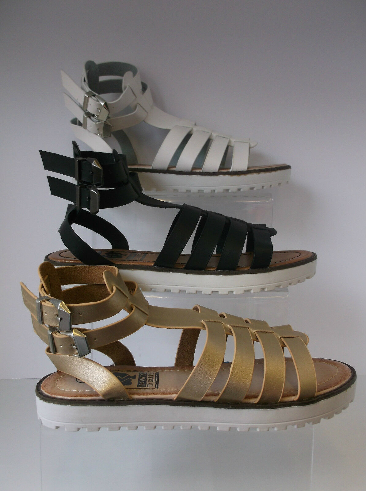 Ladies Down Black/Gold/White Down Ladies To Earth Sandals F0755 812f12