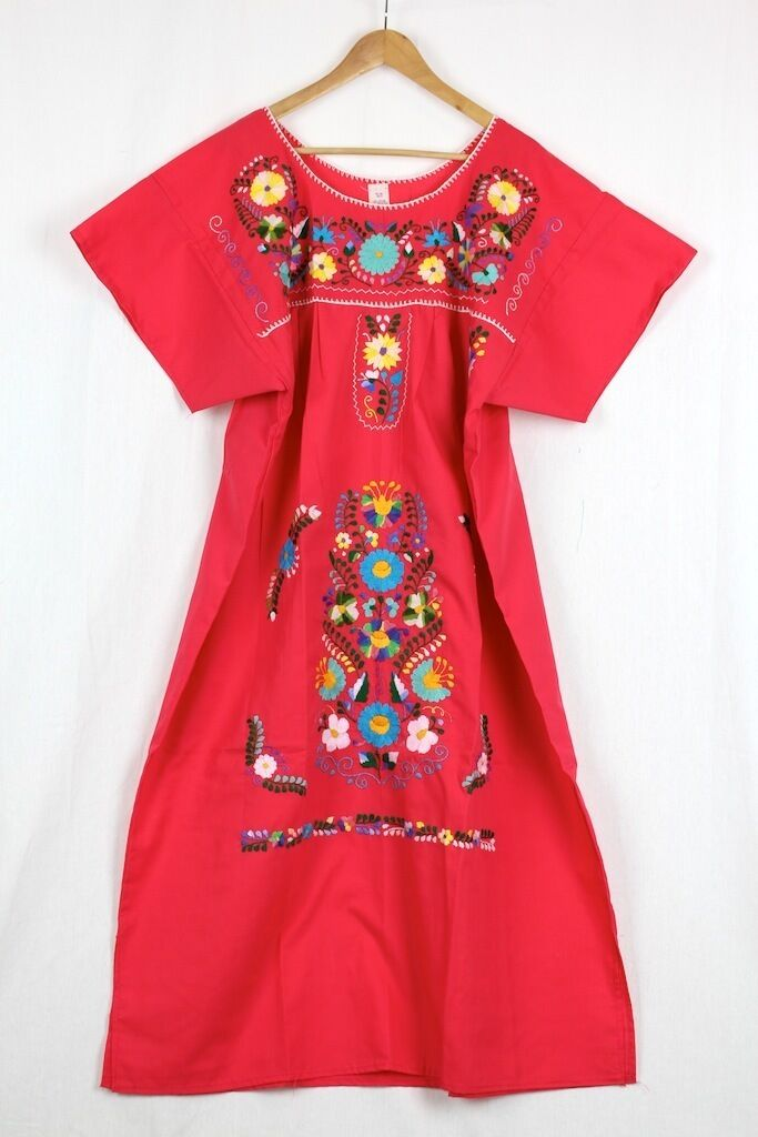 Hand Embroidered Red Dress Made Mexico Mexico Mexico New Boho Size Large Stunning Quality 65d716