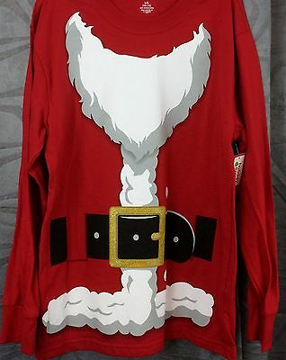Christmas boys S, M L  XXL red Santa suit shirt  cotton long sleeve